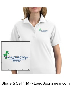 Florida Bible College Womans Polo - White Design Zoom