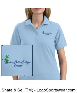 Florida Bible College Womans Polo - Light Blue Design Zoom