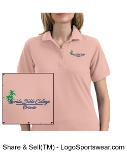 Florida Bible College Womans Polo - Light Pink Design Zoom