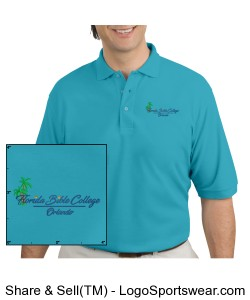 Florida Bible College Mens Polo - Maui Blue Design Zoom