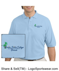 Florida Bible College Mens Polo - Light Blue Design Zoom